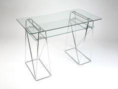 LIGHT bureau en verre et métal chromé pour ordinateur