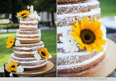 Peterson Design and Photography: Kelsey & Robbie :: 6-21-2014 :: Wedding in Irvine ::: Naked Wedding Cake! Sunflowers and powdered sugar