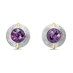 Amethyst Earrings in Sterling Silver and 18k Yellow Gold $269