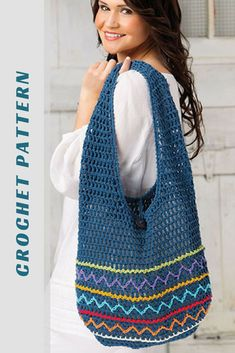 the colorful zig zags and stripes on this  hobo style crochet bag are just so cool. love the colors, i think i'd follow the pattern in a nice cotton perfect for a market bag or a beach tote. #crochetbagpattern #crochettotebag #crochetmarketbag #crochetbeachbag #crochetpatterns #affiliate #crochet