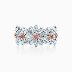 Tiffany & Co. Schlumberger® Daisy ring with white and Fancy Vivid Pink diamonds.