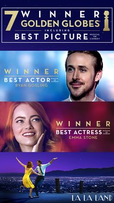 LA LA LAND is now the winner of a record-breaking 7 Golden Globes including Best Picture, Best Actor Ryan Gosling, and Best Actress Emma Stone! See it in theaters today – Click to get tickets!