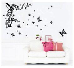 Butterfly Vine Home Decor Art Mural Removable Decals DIY PVC Vinyl Wall Sticker
