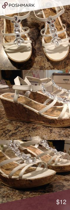 White wedge sandals size 3 Beautiful wedge sandals with rhinestones and Velcro straps girls size 3 total girl Shoes Sandals & Flip Flops