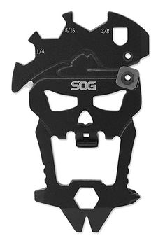SOG MacV Tool -- The skull-shaped MacV tool from SOG Knives is made of 3Cr13 stainless steel & features twelve components for performing a ton of tasks: tightening screws, sharpening a blade, cutting cord, pulling nails, opening beers, and more.