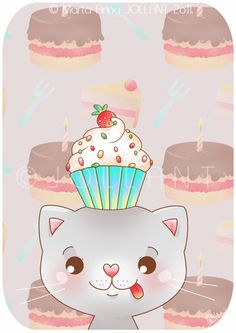 A Cat with a Cupcake Hat by =yuki-the-vampire on deviantART
