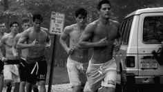 "Steven Chevrin, Pietro Boselli, Rudi Dollmayer and other male models in ""Live Eat and Sleep Wrestling"" directed by Bruce Weber for the Abercrombie & Fitch Spring 2012's Campaign"