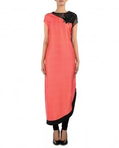 Rouge Peach and Black Kurta Set with Embellished Bug Motif