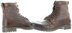 Steve Madden Meyham Men's Combat Casual Lace Up Boots Leather