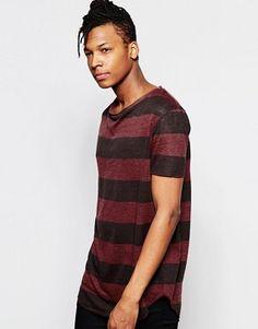 ASOS Longline Stripe T-Shirt With Scoop Neck In Linen Look
