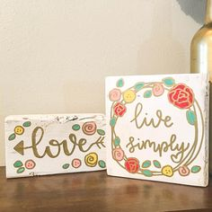 Morning Messages Duo: Live Simply and Love Vinyl Signs, Wooden Signs, Precious Children, Morning Messages, Bathroom Signs, Hand Painted Signs, Farmhouse Signs, Love Home, Gold Paint
