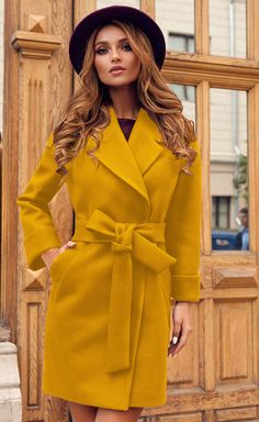 Palton stofa Dolly Mustar • Chic Diva  realizat din stofa cu 20% lana - tine de cald are un cordon in talie- iti evidentiaza talia 90 cm lungime-casual il poti purta la orice Winter Fashion, Wrap Dress, Shirt Dress, Costumes, Superhero, Chic, Jackets, Shirts, Dresses