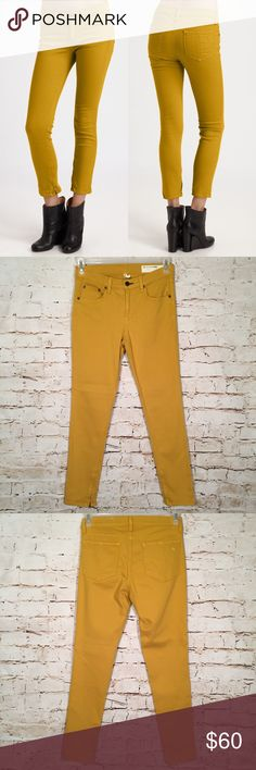 """RAG & BONE Skinny Capri Cropped Colored Jeans These mustard yellow jeans have some stretch and have a zipper detail at the ankles. They are in very good condition.  Approximate Measurements: (all measurements are taken laying flat and unstretched)  Waist: 29"""" Inseam: 28"""" Rise: 9.5"""" rag & bone Jeans Skinny"""