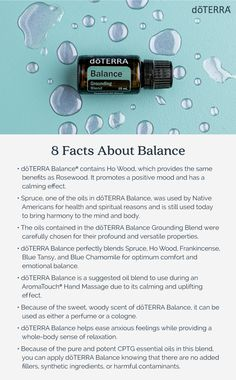 8 Facts About doTERRA Balance Grounding Blend doTERRA Balance® Grounding Blend combats anxious feeli Essential Oil Chart, Essential Oil Diffuser Blends, Essential Oil Uses, Grounding Essential Oil, Pure Oils, Doterra Essential Oils, Quiet Confidence, 8 Facts, Young Living