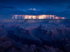 Amazing view of Lightning over the Grand Canyon.