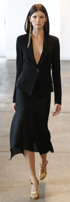 Skirt and shoes. Earring, Yes!. Don't need the blazer, really.