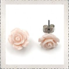 Roze oorbellen met roosje