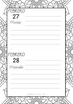Agenda 2018 con mandalas para colorear y journaling. Bullet journal. Calendario mensual con suscripcion. Vive tu mejor versión. Diseña tu año.