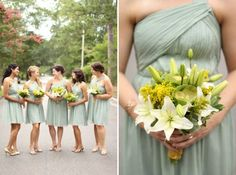 Pale sage green bridesmaids dresses. White lily and yellow bouquet. Loren Routhier Photography