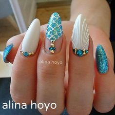 Best Coffin Nails Glitter and Gem-Infused As social media platforms continue to revolutionize the way we share images and inspiration, nail trends have evolved at a rapid pace. One very popular trend has been Mermaid Nails, . Acrylic Nail Designs, Nail Art Designs, Nails Design, Trendy Nails, Cute Nails, Mermaid Nail Art, Mermaid Glitter, Glitter Art, Little Mermaid Nails