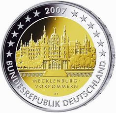 2 Euro Commemorative Coins: 2 euro Germany 2007, Schwerin Castle - Mecklenburg-Vorpommern. Commemorative 2 euro coins from Germany