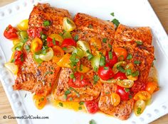 Gourmet Girl Cooks: Pan Seared Wild Coho Salmon w/ Fresh Tomato Scallion Salsa
