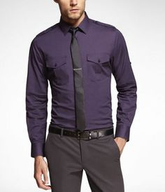 MK2 FITTED STRETCH COTTON SHIRT at Express
