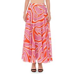Emilio Pucci Printed Pull-On Maxi Skirt ($1,220) ❤ liked on Polyvore featuring skirts, ruffle maxi skirt, high waisted long skirts, pink chiffon maxi skirt, pink skirt and pink chiffon skirt
