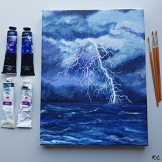 #Lightning on the sea acrylic drawing Acrylic Colors, Paint Colors, Thunderstorms, Lightning, Sea, Night, Drawings, Artwork, Painting
