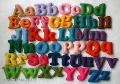 Stuffed Felt Alphabet Letter Set in a Drawstring Bag - Mixed Upper and Lower Case Set.