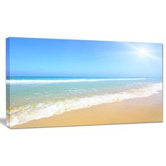 "DesignArt 'Sun Over Tropical Beach' Photographic Print on Wrapped Canvas Size: 20"" H x 40"" W x 1"" D"
