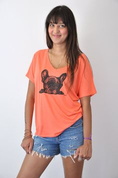 Womens FRENCH BULLDOG Flowy V-neck T-shirt, Bella + Canvas French BULLDOG Screenprinted V-neck T-shirt, 4 Colors, Sizes s,m,l and xl