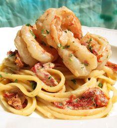 Shrimp Sophia. Succulent shrimp dance in lite white wine cream sauce studded with sun dried tomatoes. Delizioso!   marksdailynosh.com