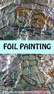 Foil Painting by outlining the image in black puffy paint and filling it in with thin colored paints - Enchanted Homeschooling Mom Art Therapy Projects, Art Therapy Activities, Arts And Crafts Projects, Children Activities, Play Therapy, Learning Activities, Foil Art, Expressive Art, Crafty Kids