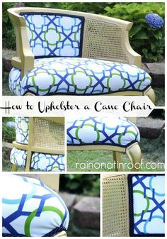 This is the tutorial for how to re-upholster one of these bad boys. Not just pretty pictures! How to Upholster a Cane Chair via RainonaTinRoof.com