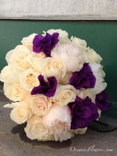 Off White and Purple Bridal Bouquet