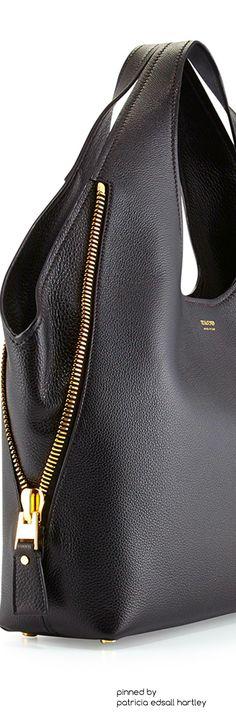 TOM FORD Jennifer Side-Zip Leather Hobo Bag, Black