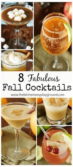 8 Fabulous Fall Cocktails ~ featuring Fall flavors like pumpkin, cranberry, & hot chocolate, they're sure to be great additions to your Fall {or anytime} sipping!  www.thekitchenismyplayground.com
