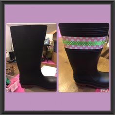 Embellish those mud boots!!!add some duck tape and use a blow dryer for a min to really set the adhesive then add a ribbon with a glue gun!
