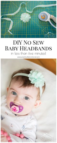 Make your own DIY no sew baby headband in under five minutes, plus a really useful baby headband size chart for the elastic!