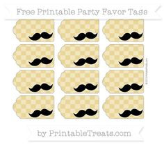 Free Metallic Gold Checker Pattern Mustache Party Favor Tags