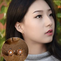Original design cute romantic stud earrings charm natural freshwater peal copper flower ethnic Handmade vintage jewelry