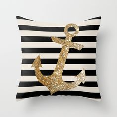 Glitter Anchor in Gold Pillow #nautical #glliter #anchor #gold #pillow #home #decor #couch #sofa #decorideas #giftidea #marine #stripes #nude #black #homewhishes