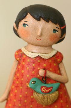 Girl with Nesting Bird Paperclay OOAK Art Doll. $50.00, via Etsy.