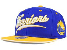 Golden State Warriors Mitchell and Ness NBA Billboard Script Snapback Cap Hats