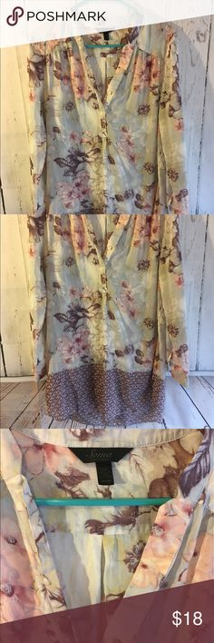 """Soma Intimates Silk Blend Floral Button Down top This top is beautiful! It is Medium and measures 33"""" long 18.5"""" from armpit to armpit when it is laid flat and 24"""" from shoulder to sleeve. The sleeves can be rolled up and buttoned for a 3/4 sleeve look. It is a little bit sheer but not completely. It is 70% Cotton and 30% Silk. If you need additional measurements please let me know and I will get them to you quickly before purchasing. Soma Tops Tunics"""