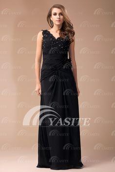 2014 V-Neck Zipper A-Line Chiffon Beaded Cheap Evening Dresses With Flower Prom Dresses Party Dresses