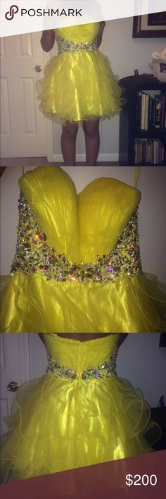 Yellow Jeweled Prom dress no flaws. can be wore strapless or with straps. size small but it fits big. I wear a 34B but it's still too big. Dresses Prom