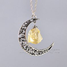 Crescent Moon Necklace Raw Citrine Necklace Raw Citrine Crystal Necklace Pendant November Birthstone Natural Gemstone Stone Jewelry