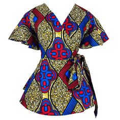 Articles similaires à African floral print wrap shirt dress. African Fashion Designers, African Fashion Ankara, African Wear, African Attire, African Outfits, Nigerian Fashion, African Dashiki, African Lace, African Print Peplum Top